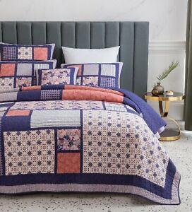 DaDa Bedding Floral Blossom Purple Peach Patchwork Bedspread Set Designed in USA