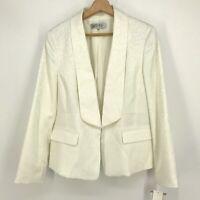 Sz 12 NWT Kasper Jacquard Leopard Print Open Front Blazer Jacket Off White C054