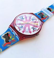 """New in Box SWATCH """"Chicchirichi"""" GR112 Cock Rooster Blue Red Swiss Watch 1992"""