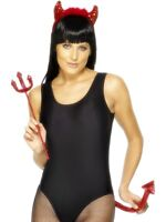 Halloween Red Sequinned Devil With Marabou Headband Tail & Trident Fancy Dress