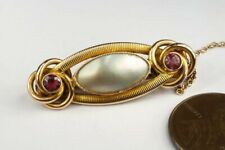 & Gar 00006000 Net Art Nouveau Brooch c1900 V Pretty Antique English 9K Gold Pearl