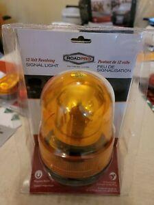 RoadPro  12V Amber Revolving Warning Light with Magnetic Base RPSC-728