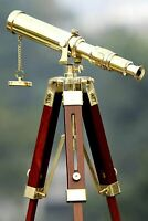 Brass Telescope with Wooden Tripod Stand Portable Home Decorative Item Gift