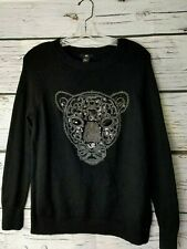 H&M Women's Black Sweater Leopard Cat Sequins Beads Size Small S