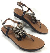 NEW Women's FitFlop T-Strap Tia Fringe Snake/Black leather Sandals Sz 7