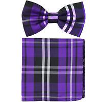 New formal men's pre tied Bow tie & Pocket Square Hankie plaid & checkers purple