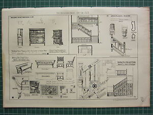1877 DATED ARCHITECTURAL PRINT ~ DESIGNS SOFA EASY CHAIR ~ STAIRCASE FOR RECTORY