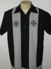 ROCKABILLY 2TONE IRON CROSS EMBROIDERED RETRO HIPSTER LOUNGE BOWLING SHIRT MEN L