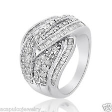 2.00Ctw. 126pcs Round & Baguette Diamond Ladies Right Hand Ring 14K White Gold