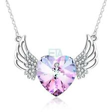 ANGEL WING HEART NECKLACE WITH CRYSTALS - WOMEN LADY WIFE MOM BIRTHDAY GIFTS