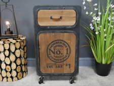 Vintage Industrial Style Bedside Cabinet Table Drawers Statement Piece