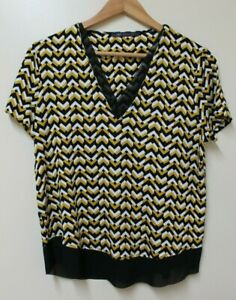M&S Top Chevron Zig Zag Mustard Black Summer Smart Office Work UK 10