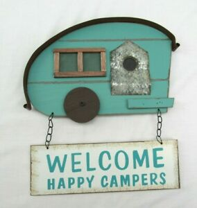 Welcome happy Camper hanging sign wood wall decor teal blue
