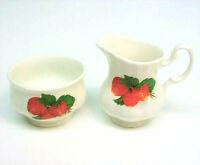 Jubilee Bone China CREAMER & SUGAR BOWL Strawberries Strawberry Cream Pitcher