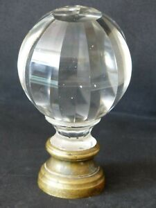 Antique 19th Century French Glass / Brass boule d'escalier Newel Post Finial