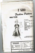 # F600 Vintage Fashion  Dress Pattern Sz 12 used