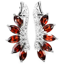 Sterling Silver 925 Genuine Natural Marquise Red Garnet & Lab Diamond Earrings
