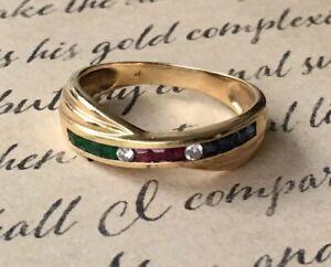 14K Yellow Gold Ring With Genuine Ruby , Emerald , Sapphire & Diamonds