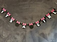 "Minnie Mouse ""Its A Girl"" Banner. Polka Dot Bows"