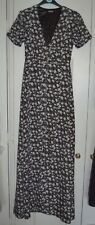 New 6-8 Missguided Misguided Black White Floral Ditzy Button Dress Front Splits
