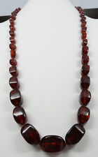 "Fine Antique Natural Cherry Amber Knotted Bead 34"" Necklace 91.2 grams"