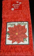 "Christmas  Kitchen Towel   100% Cotton  15"" X 25"" HAPPY HOLIDAYS  POINSETTA"