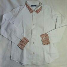 Euro Boys white shirt contrast collar sz 7