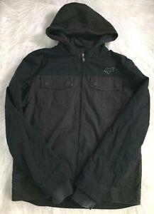 Fox Racing Jacket Mens Sz L Black Hooded Zip Up Front Pocket Fleece Lining