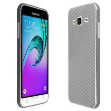 Skinomi Silver Carbon Fiber Skin & Screen Protector for Samsung Galaxy J3
