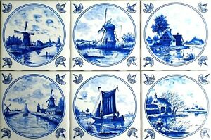 "Delft Design Ceramic Tiles Blue Set of 6 /4.25"" Wind Mill Ships Dutch Houses"