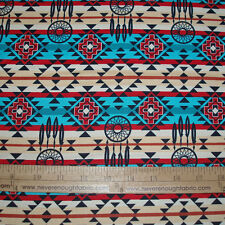 Cotton Fabric Native American Dream Catchers Spirit Southwest on Turquois  BTY