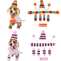 3 Times Winter Warm Stripe Knitted Pet Dog Hat Scarf Socks Puppy Costume Clothes