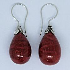 Classic CORAL DROP Earrings in 925 Sterling Silver Bali Jewellery - 3.5 cm # K13