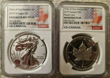 Pride of Two Nations 2019 Canada & Silver Eagle Us Canada 2 Coin Set Ngc Pf69