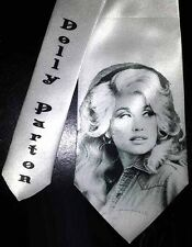 L@@K! Dolly Parton White Satin Necktie - Young Dolly Pin Up Country