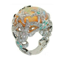 925 Silver Starfish Opal Ring Women Wedding Jewelry Party Engagement Size 6-10