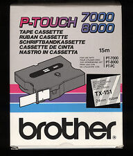 1x BROTHER TX-151 P-touch 24mm Ruban NOIR / EFFACER   PT-7000, PT-8000, PT-PC