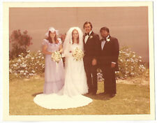 Vintage 70s PHOTO Wedding Couple w/ Best Man & Maid Of Honor Outside