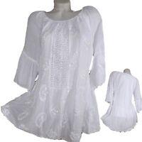 de fête été dentelle Blouse tunique chemise 36 38 40 42 S M Top blanc Plage