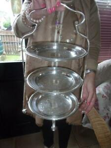 ANTIQUES 1920S 30S  PRETTY 3 TIER CAKE STAND WITH 3 ORIGINAL PLATTERS