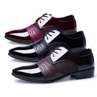 New men Lace Up Oxfords Mens Dress Tuxedo Formal Shoes Cap Toe Patent Leather