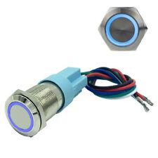 19mm Metal Waterproof 12V LED Angel Eye Momentary Car Push Button Blue Switch