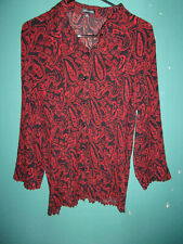 (3) Notations stretchy fine-pleated blouses / tops (Red/Pink/Teal) Size XL (Exc)