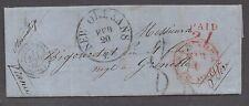 "**US Stampless Cover Ship Mail, New Orleans, 1856 to Grenoble """"Paid"" 21"