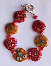 Stunning Red Ruby & Orange Millefiori Glass Hearts  Bracelet