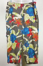 Chico's 3.5 Pants Linen Cropped Brown Floral Print  Capri Misses XL