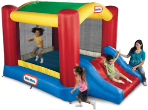 Little Tikes Jump 'N Slide Bouncer With Arched Canopy Overhead Cover, Plus Heavy