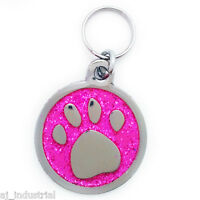 Pink Glitter Paw Personalised Pet ID tag - Cat-Dog Small Disc Free Engraving