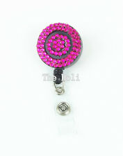 Multi-Color Rhinestone Crystal Retractable ID Badge Reel with Swivel Clip