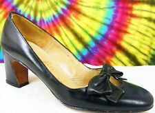 sz 6.5 M vtg 60s black leather bow-toe pumps shoes NOS